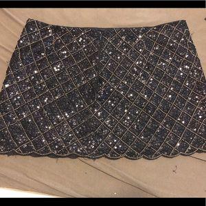 Sequin embellished mini skirt, silk inlay